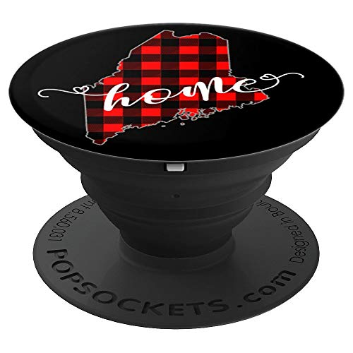 Maine State Home Red Plaid Maine Cell Phone Accessory Gift - PopSockets Grip and Stand for Phones and Tablets