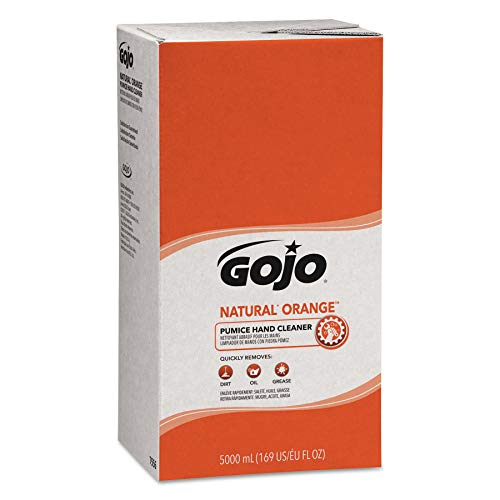Hand Cleaners Natural - GOJO NATURAL ORANGE Pumice Industrial Hand Cleaner, 5000 mL Quick Acting Lotion Hand Cleaner Refill for GOJO PRO TDX Dispenser (Pack of 2) - 7556-02