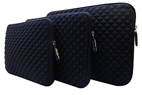 AZ-Cover 10.6-Inch Case Simplicity & Stylish Diamond Foam Shock-Resistant Neoprene Sleeve (Black) For ASUS Transformer Pad TF300T-A1-RD Tablet 10.1-Inch + One Capacitive Stylus Pen