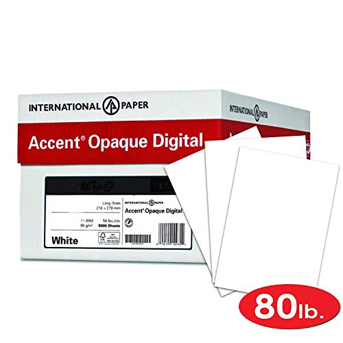 Accent Opaque Thick Cardstock Paper, White Paper, 80lb Cover, 216 gsm, 19x13 Paper, 97 Bright, 4 Ream Case / 800 Sheets, Smooth, Heavy Card Stock (189038C)