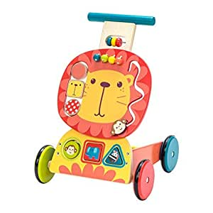 labebe - 4 Wheels Walker for Baby, Wooden Push Wagon Toy for 1-3 Years Old Girl/Boy, Toddler/Kid Push Toy Cart for Walking, 2-in-1 Toy Shopping Cart, ...