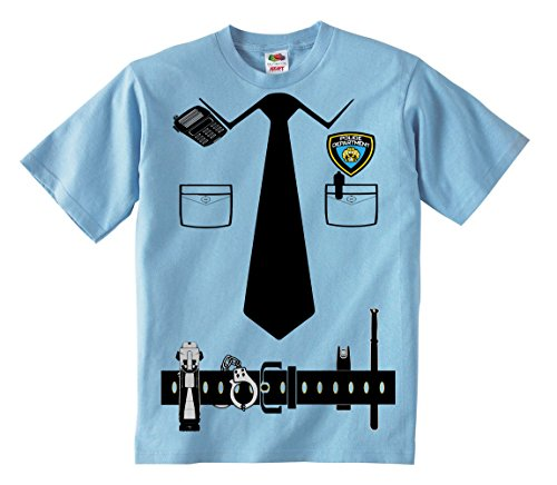 [Fresh Tees Kid's Police Cop Uniform Costume Tee Tuxedo T-shirts (X-Small)] (Cop Costumes Tshirt)