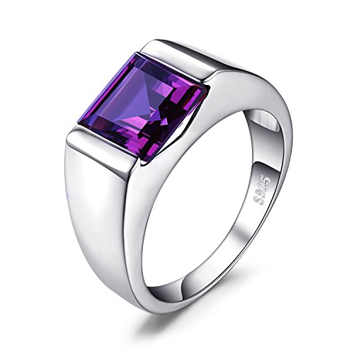 Jewelrypalace Men's Square 3.3ct Created Alexandrite Sapphire 925 Sterling Sliver Ring Size 9