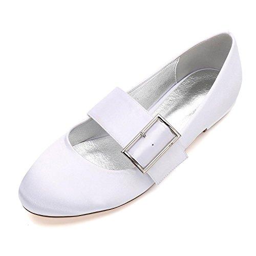 L@YC Boda de Las Mujeres Zapatos 5049-23 Bombas Satén Closed Toe Hebilla Plana Heel Wedding Party Dress Zapatos de La Corte White