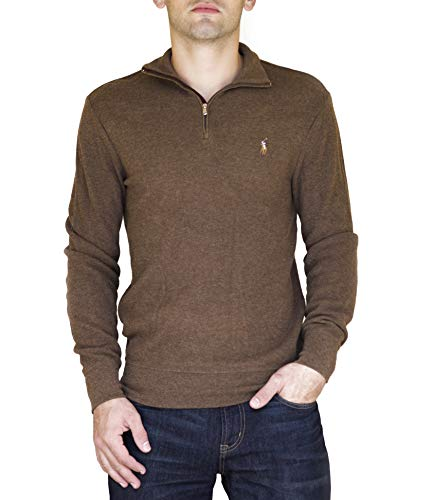 Ralph Lauren Men's Half Zip Suede Trim Mock Neck Pullover Cedar Heather S