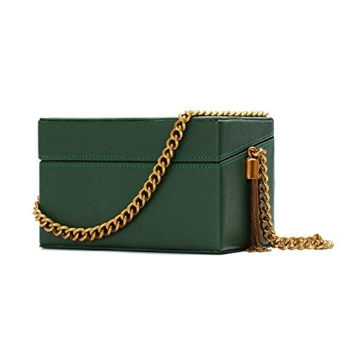 Totes Tassel Green NEW amp;OS Handbags Luxury Bag Chain Bags Clutch Evening Purse Box ZJ Women zAqHq