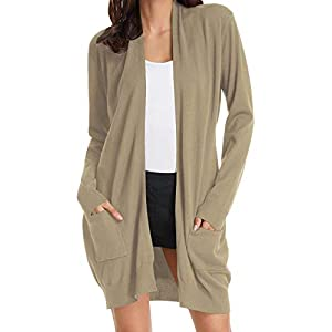 GRACE KARIN Women Open Front Cardigan Sweaters Pockets Long Sleeve Shrugs