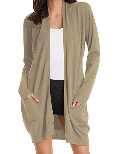 Women's Long Sleeve Open Front Popcorn Sweater Cardigan with Pockets Tan S
