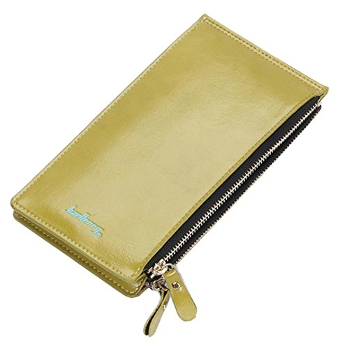 Zipped Coin Pocket (Long Fold Wallet for Women Oil Wax Leather Purse Slim Thin Card Organizer Phone Clutch Wallet with Zipper Pocket (Green))