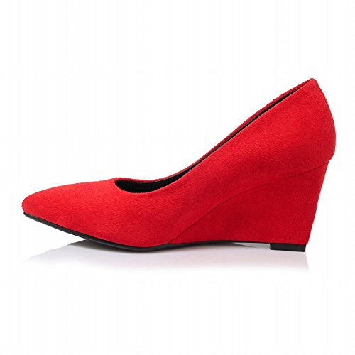 Court Womens Shoes Mee Nubuck Shoes Embroidery Red Wedges x1YXPX5