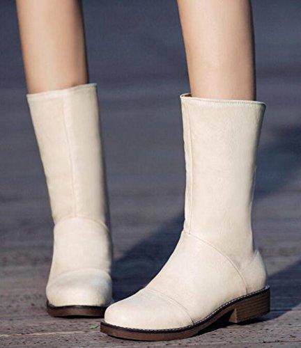 Idifu Womens Classic Low Chunky Tacco Medio Polpaccio Stivali Da Equitazione Con Cerniera Posteriore Beige