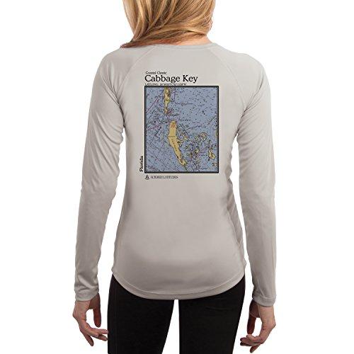 Altered Latitudes Coastal Classics Cabbage Key Chart Women's UPF 50+ Long Sleeve T-Shirt Small Pearl Grey