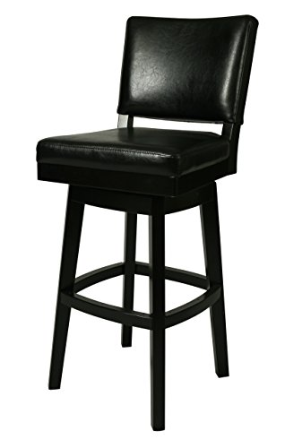Impacterra Richfield Swivel Stool, Feher Black Black Leather, Bar Height