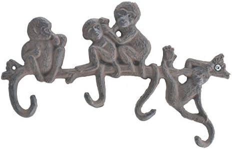 "Cast Iron壁フックラックMonkeys on Branch 4フック10.25"" WideジャングルサファリDecor"