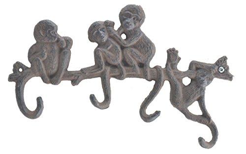 Cast Iron Wall Hook Rack Monkeys On Branch 4 Hooks 10.25