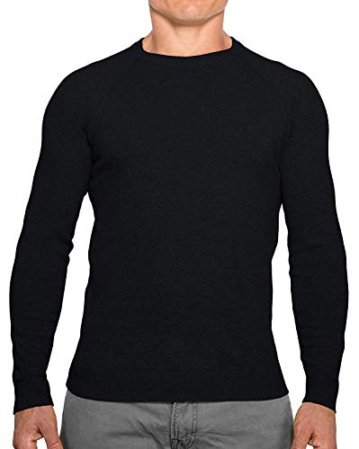 - Comfortably Collared Men's Perfect Slim Fit Lightweight Soft Fitted Crew Neck Pullover Sweater, Medium, Black