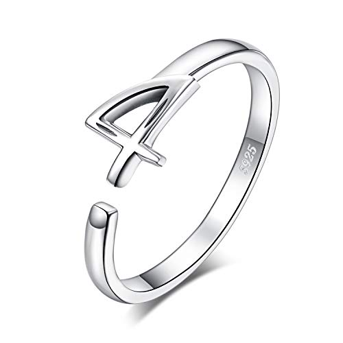 JewelryPalace Lucky Number 4 Birth Anniversary Adjustable Open Ring 925 Sterling Silver