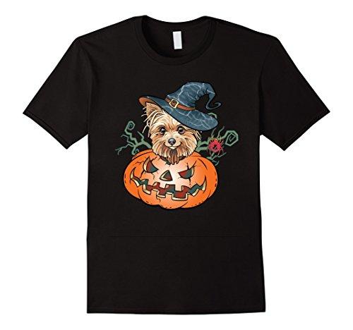 Mens Halloween Yorkshire Terrier Dog Lover Pumpkin T Shirt XL Black
