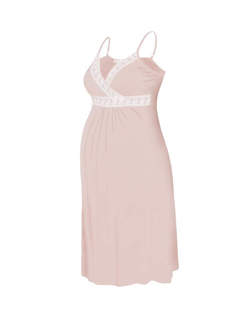 Tank Sleepwear Dress Sexy Nightgown Cotton Maternity Breastfeeding & Nursing Nighties for Women (Large, Light orange)