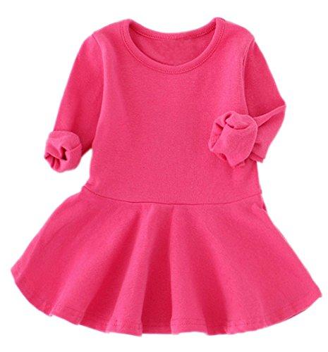 GSVIBK Baby Girls Cotton Dresses Infant Cotton Dress Solid Toddler Ruffle Dresses Long Sleeve