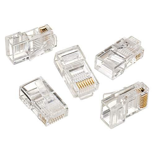 CAT6, CAT5e & CAT5 | RJ45 Non Pass Through & EZ-RJ45 Pass Through | Ethernet Cable Crimp Connector Ends | Pack of 100 - EZ-RJ45