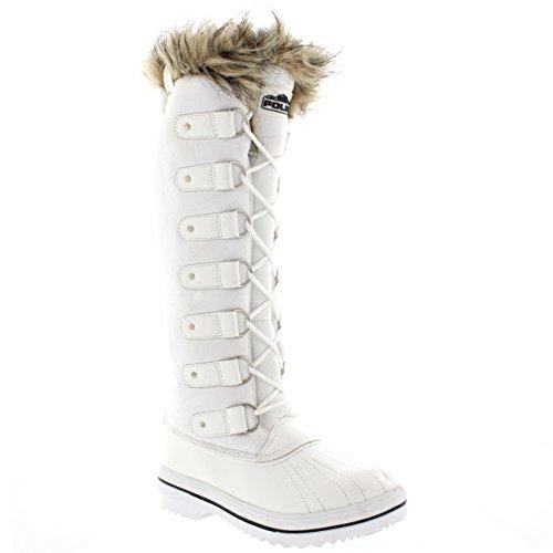 Frauen schnüren sich Gummisohle Kniehohe Winter Schnee Regen Schuh Stiefel Weißes Wildleder