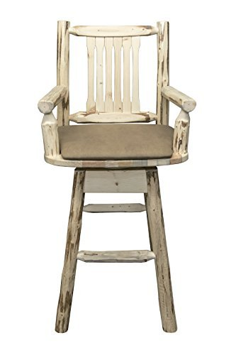 Montana Woodworks MWBSWSCASVBUCK Montana Collection Captain's Barstool with Back & Swivel, Clear Lacquer Finish with Upholstered Seat, Buckskin Pattern