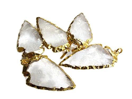 20 Quartz Crystal Arrowhead Pendant,Gold Arrowhead,Electroplated Raw Gemstone -