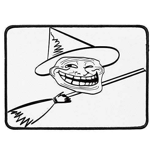 Humor Decor Non Slip Mouse Pad,Halloween Spirit Themed Witch Guy Meme LOL Joy Spooky Avatar Artful Image for Laptop Computer & PC,9.84''Wx11.81''Lx0.12''H ()