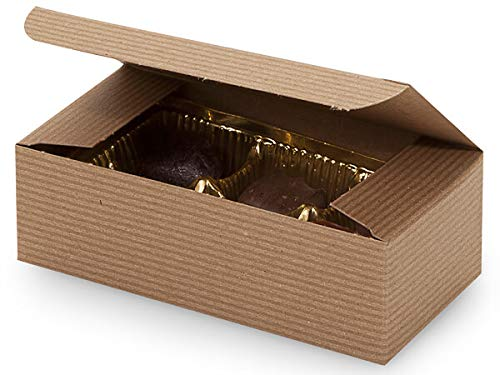 One Piece Folding Candy Box 100 Count - 1/2 LB - Kraft Pinstripe