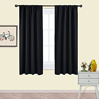 Nicetown Pitch Black Solid Thermal Insulated Grommet Blackout Curtains Drapes For