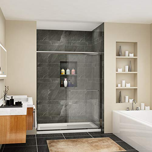 SUNNY SHOWER B020, Frameless Bypass Sliding Shower Doors, 56