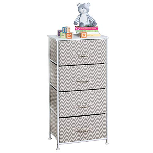 mdesign chevron fabric baby 4-drawer dresser and storage organizer unit for nursery, bedroom, play room - taupe/natural