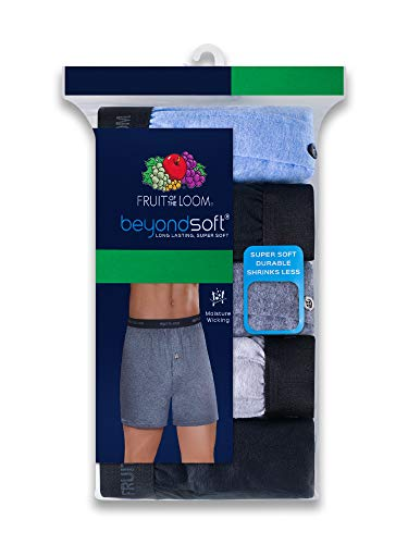 Fruit of the Loom Men's Soft Stretch-Knit Boxer Multipack (Exposed Waistband - Assorted (5 Pack), XX-Large)