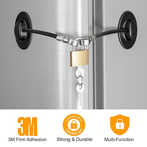 Refrigerator Lock, Fridge Lock with Keys and Padlock, Freezer Lock with Strong 3M Adhesives, Heavy-duty Aircraft Cable, provides 500lbs Resistive Force, Black Refrigerator Locks for Children