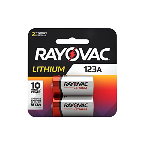 - Rayovac 123A Lithium Batteries, 3V Lithium Photo Batteries (2 Battery Count)