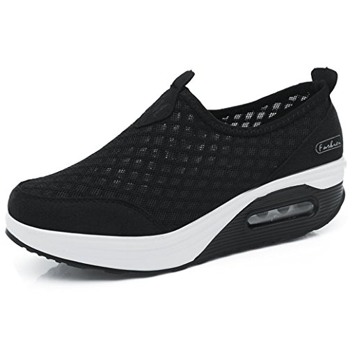 Orlancy Women's Mesh Wedge Sports Shoes Slip On Lightweight Fitness Walking Sneakers Size US4-11