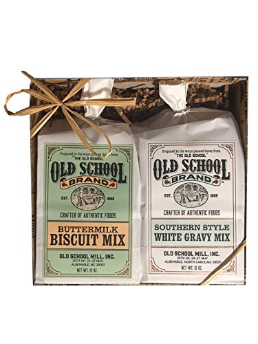 Old School Brand Buttermilk Biscuit Mix and Southern Style White Gravy Mix Gift Pack (Best Southern Buttermilk Biscuits)