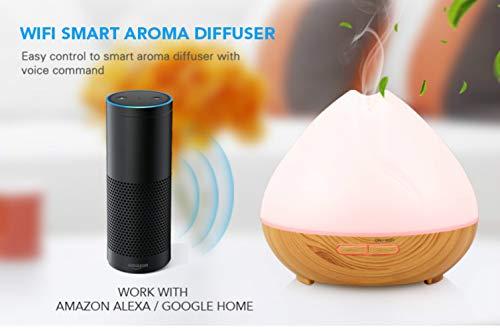 Essential Diffuser Alexa Echo/Google Assistant/APP Smart Perfume Oil Diffuser with Tuya /400ml Wood ultrasonic humidifier Cool