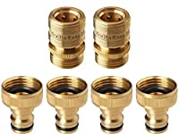 GORILLA EASY CONNECT Garden Hose Quick Connect Fittings. ¾ Inch GHT Solid Brass. (4)