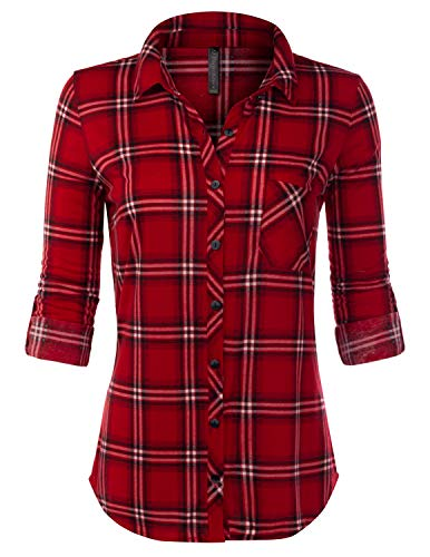 JJ Perfection Womens Long Sleeve Collared Button Down Plaid Flannel Blouse Shirt REDBLACK S -