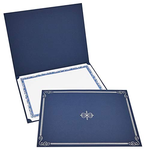 12-Pack Certificate Holder - Diploma Cover, Document Cover for Letter-Sized Award Certificates, Navy Blue, Silver Foil, 11.2 x 8.8 Inches]()