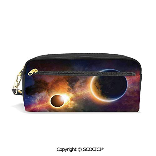 Printed Pencil Case Large Capacity Pen Bag Makeup Bag Planet in Milky Way Dark Nebula Gas Cloud Celestial Solar Galaxy Theme for School Office Work College Travel