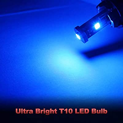 Yorkim 194 Led Bulb Blue Canbus Error Free 3-SMD 2835 Chipsets, T10 Blue Interior Led For Dome Map Door Courtesy License Plate Trunk lights with 194 168 W5W 2825 Sockets, Pack of 10: Automotive