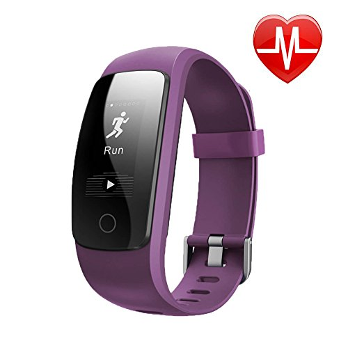 BIGFOX Fitness Tracker GPS Heart Rate, ID107 Plus Heart Rate Monitor Activity Wristband Pedometer Sleep Monitor Calories Track Step GPS Track Waterproof for iPhone 7 Samsung S8 - Purple
