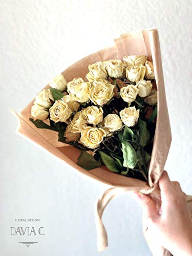 (High Quality Dried White Spray Roses - 10 Stems/25-30 Roses A Bunch - For Home Decor/DIY/Gift/Dried Flower Arrangement/Wedding Flower/Bouquet)