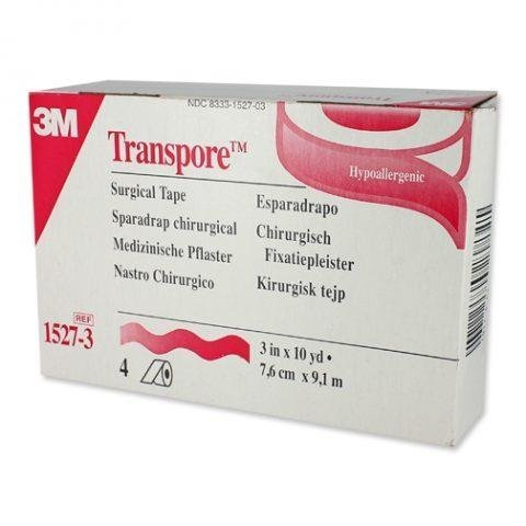 """3M-1527-3 Transpore Surgical Tape 3"""" x 10 yards - Box of 4 Rolls"""