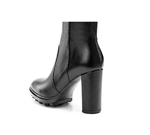 Nel complesso grezzo con cuoio pieno Cashmere ginocchio alte donne s stivali , 34