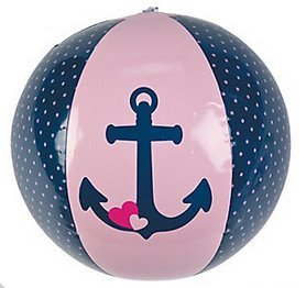 Summer Fun Deluxe Mini 11'' Nautical Girls Pink & Black Beach Balls (12 per sale)