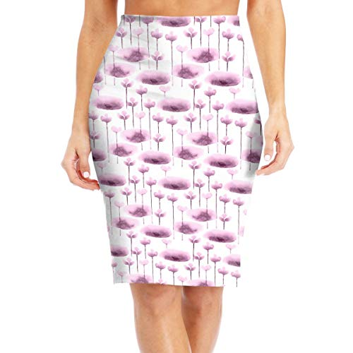 Ornament with Water Lily Pattern Sexy High Waist Skirt, Women